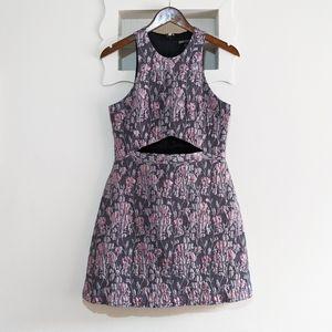 Express Formal Floral Metallic Dress w/ Cutout
